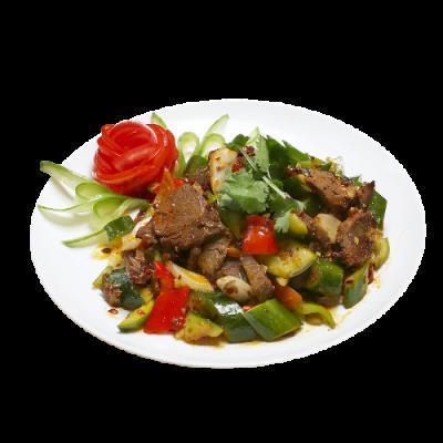 Салат с говядиной и битыми огурцами 牛肉拍黄瓜