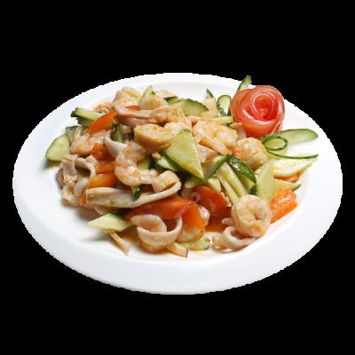 Салат с морепродуктами 美味海三鲜